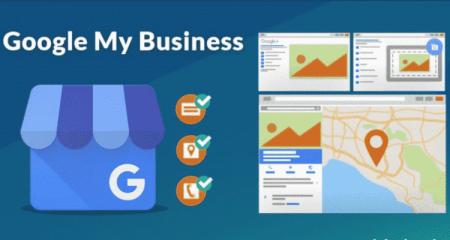 A imagem tem o logo do Google my business (um loja em azul com um G), ao lado tem uma representação com ícones com descrição, localização e telefone e mais à direita tem uma representação do que é o google my business na procura do google com imagens, mapa, localização, esta imagem é para o google my business workshop